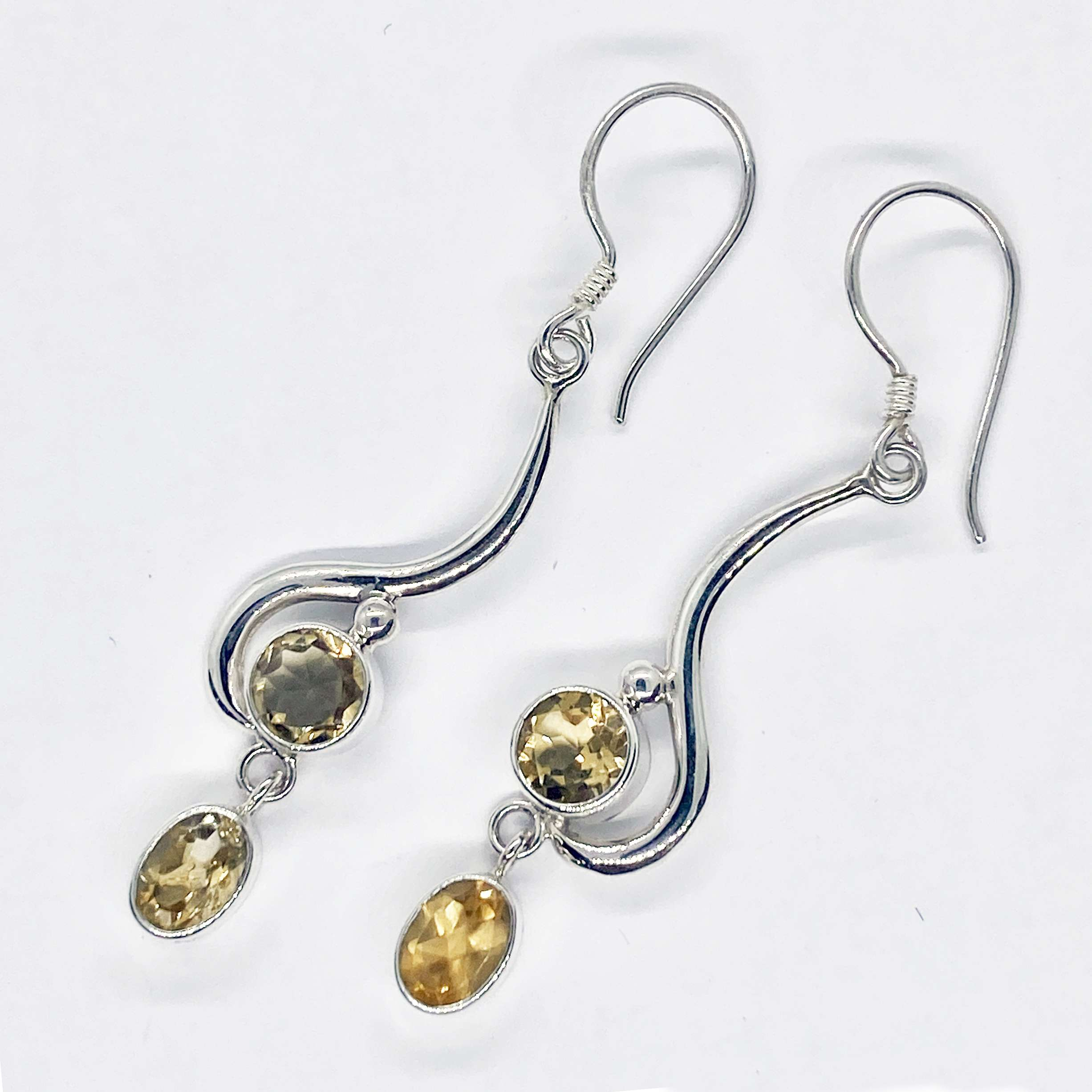 (HANDMADE 925 BALI SILVER EARRINGS WITH CITRINE)