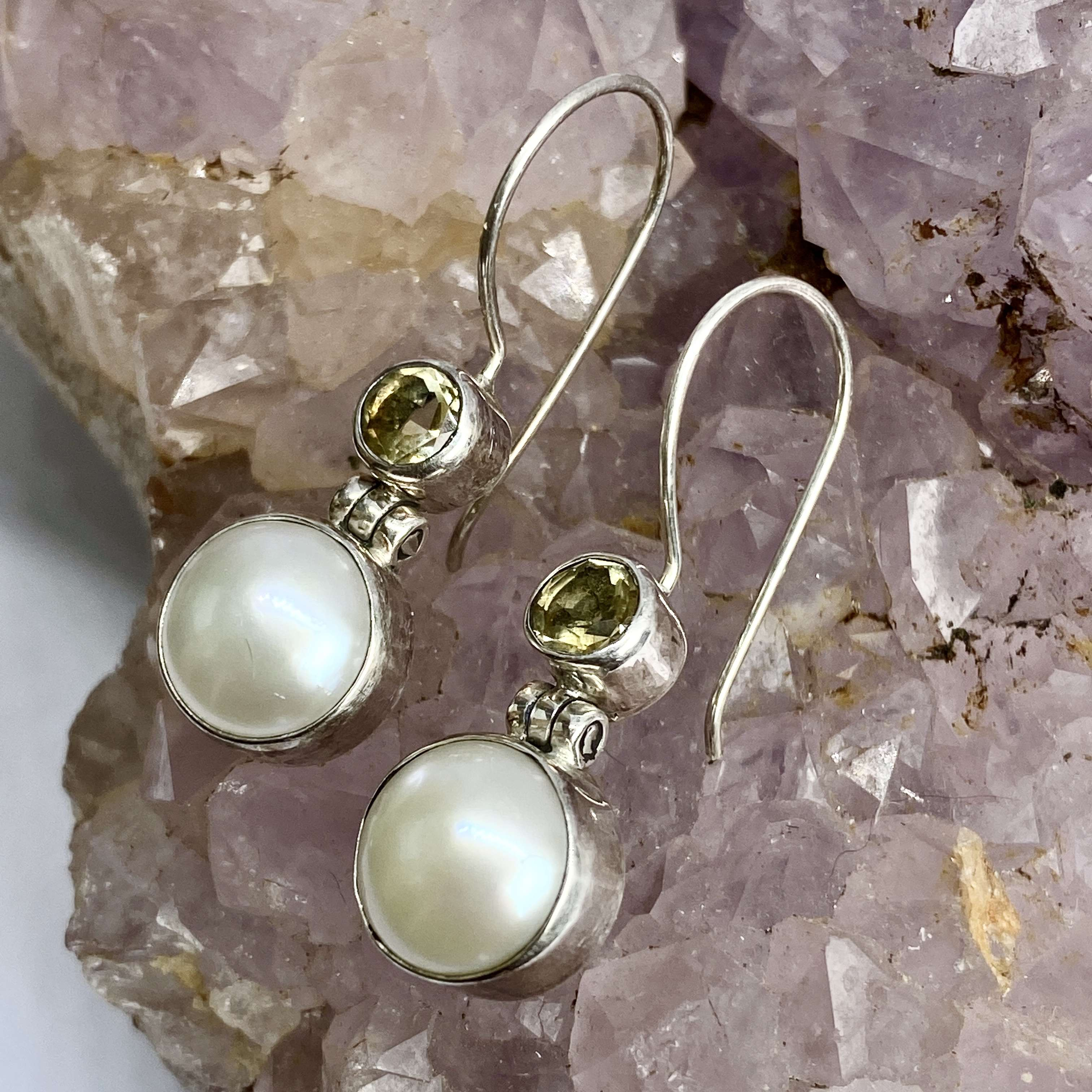 (925 BALI STERLING SILVER EARRINGS WITH PEARL - CITRINE)