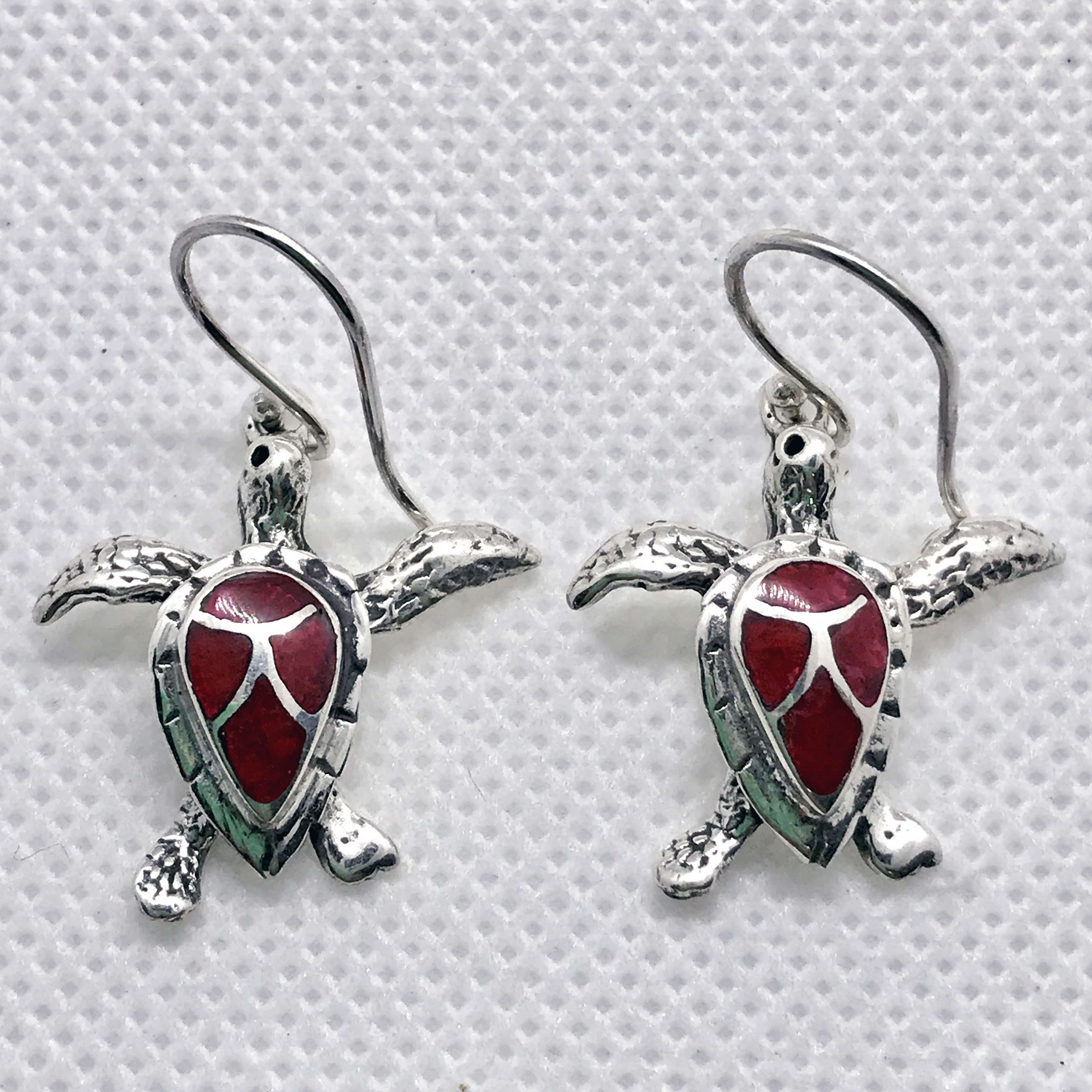 (HANDMADE 925 BALI SILVER TURTLE EARRINGS WITH CORAL)