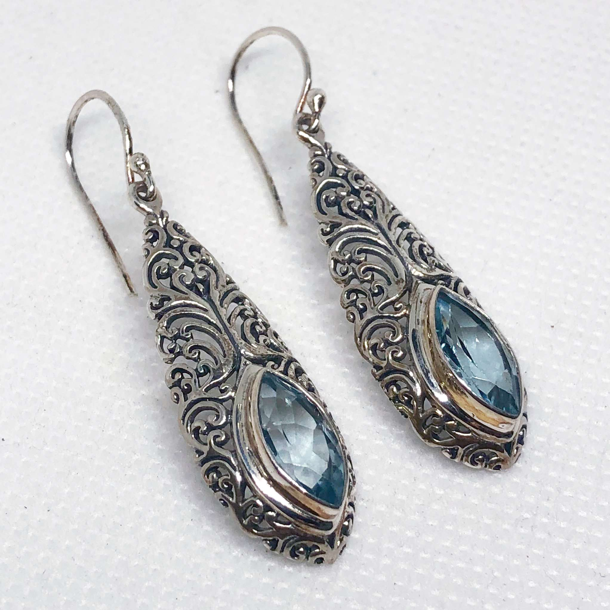 (UNIQUE 925 BALI SILVER FILIGREE EARRINGS WITH TOPAZ)