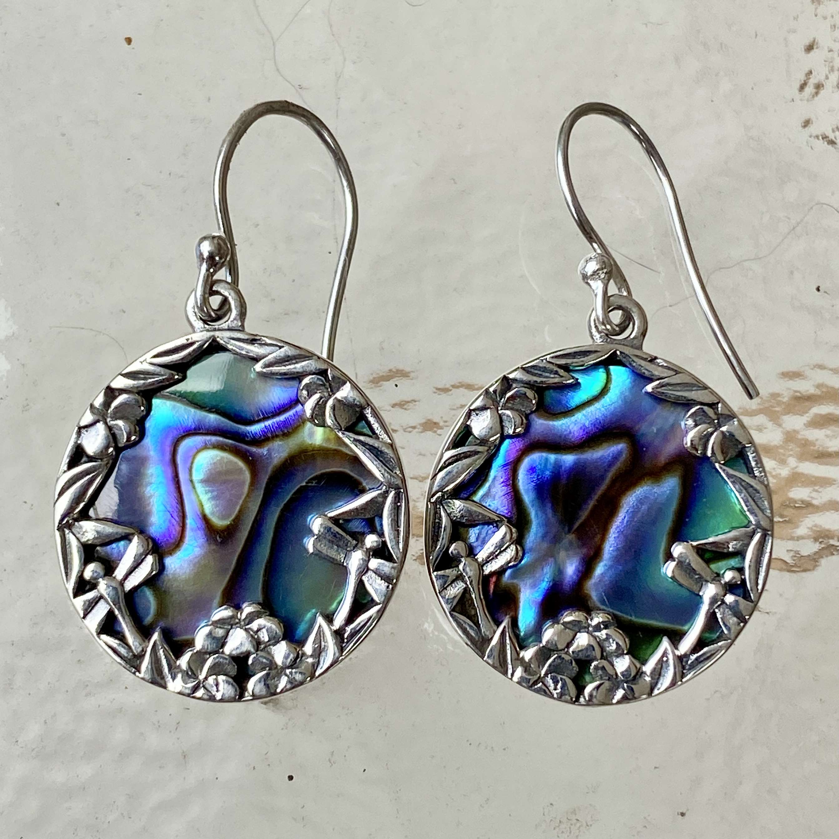 (HANDMADE 925 BALI STERLING SILVER EARRINGS WITH ABALONE)