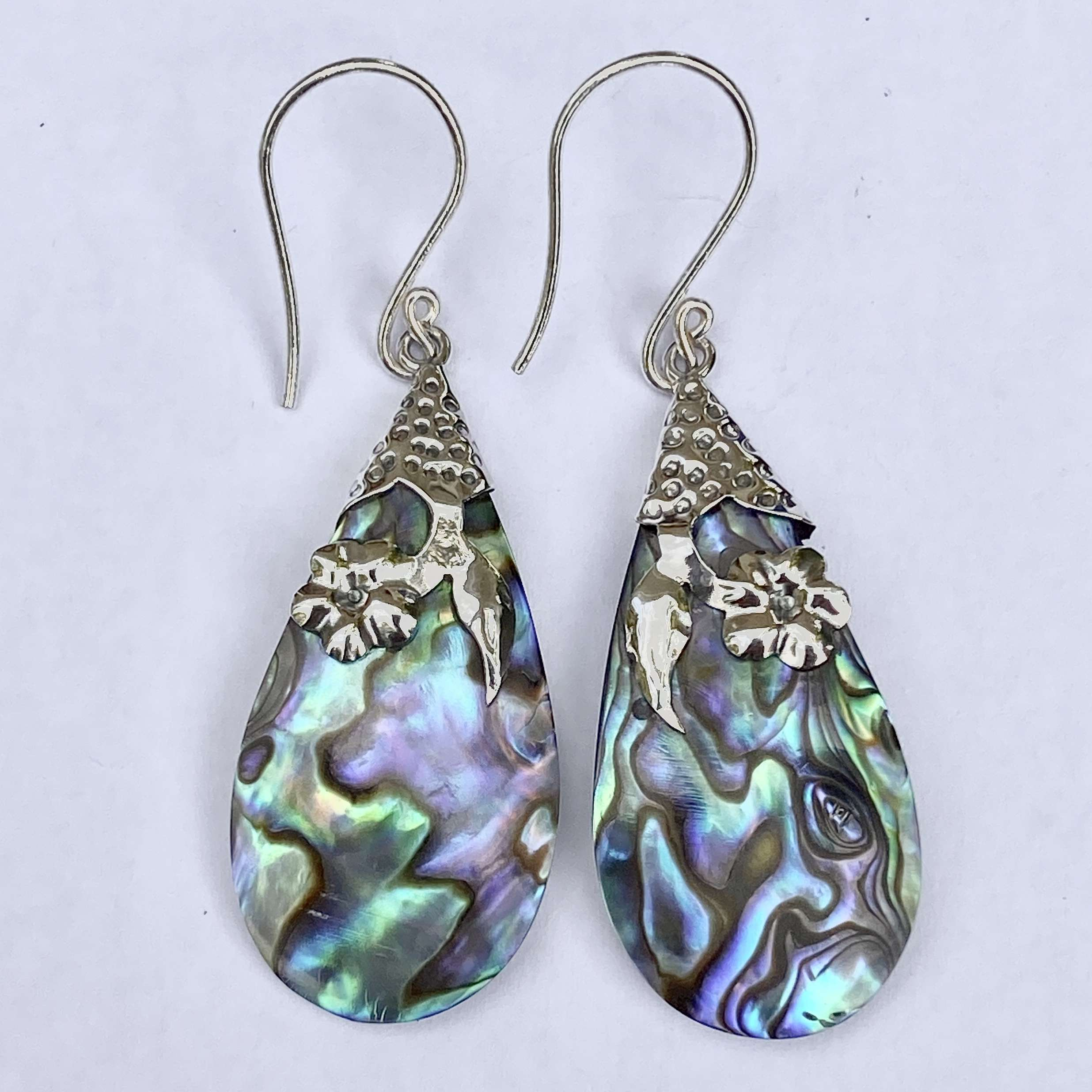 (HANDMADE UNIQUE 925 BALI SILVER FILIGREE EARRINGS WITH ABALONE)