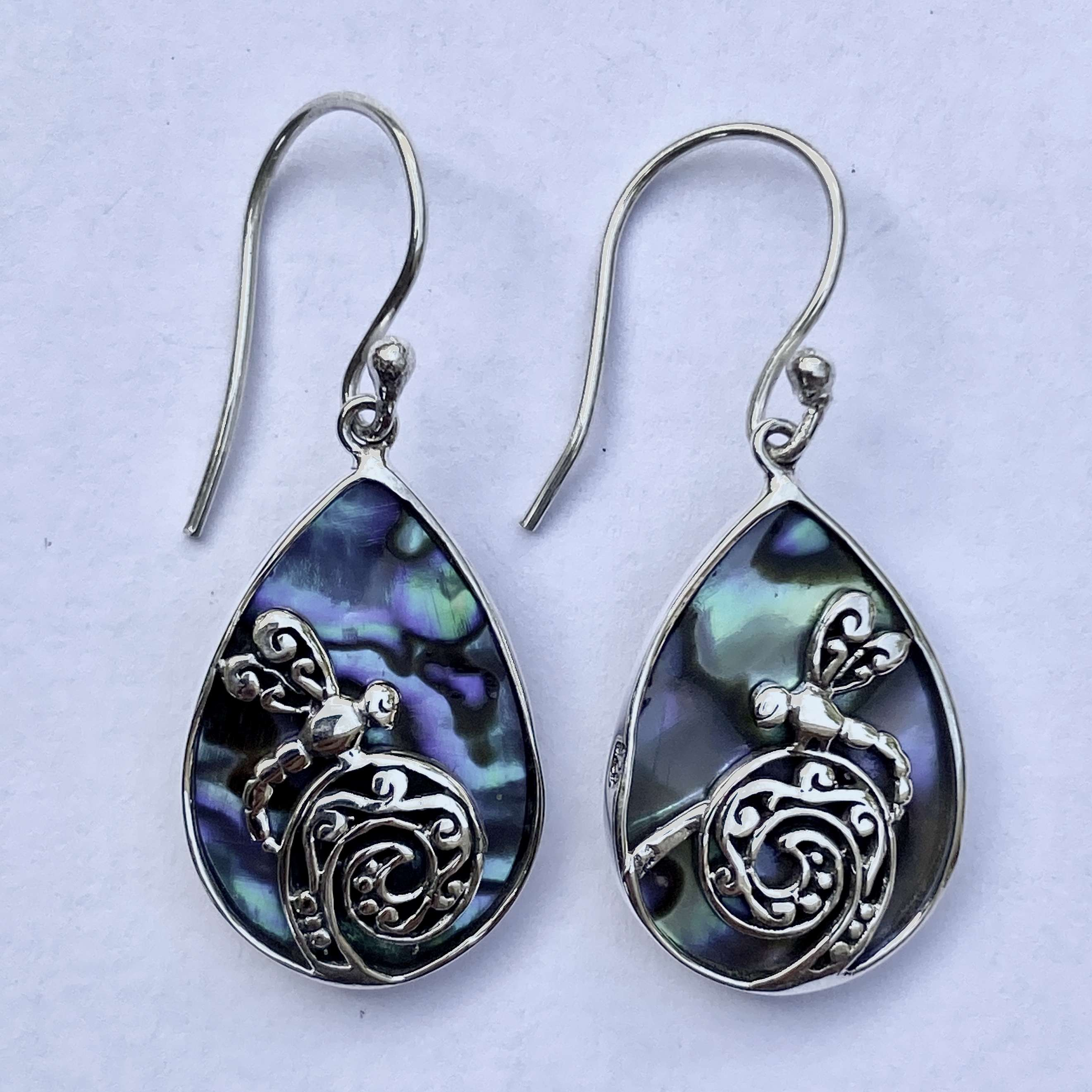 (HANDMADE 925 BALI SILVER DRAGONFLY EARRINGS WITH ABALONE)