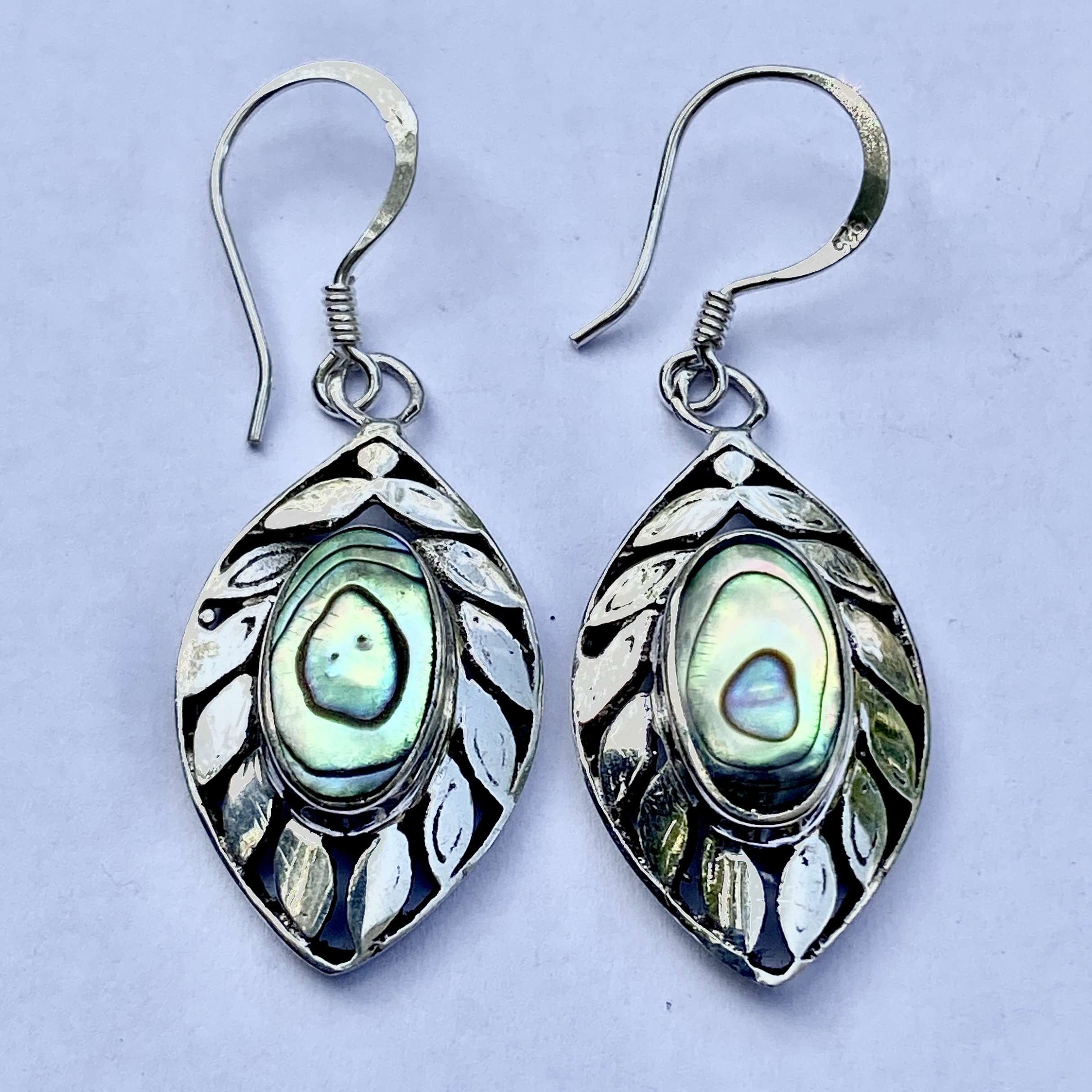 (HANDMADE UNIQUE 925 BALI SILVER EARRINGS WITH ABALONE)