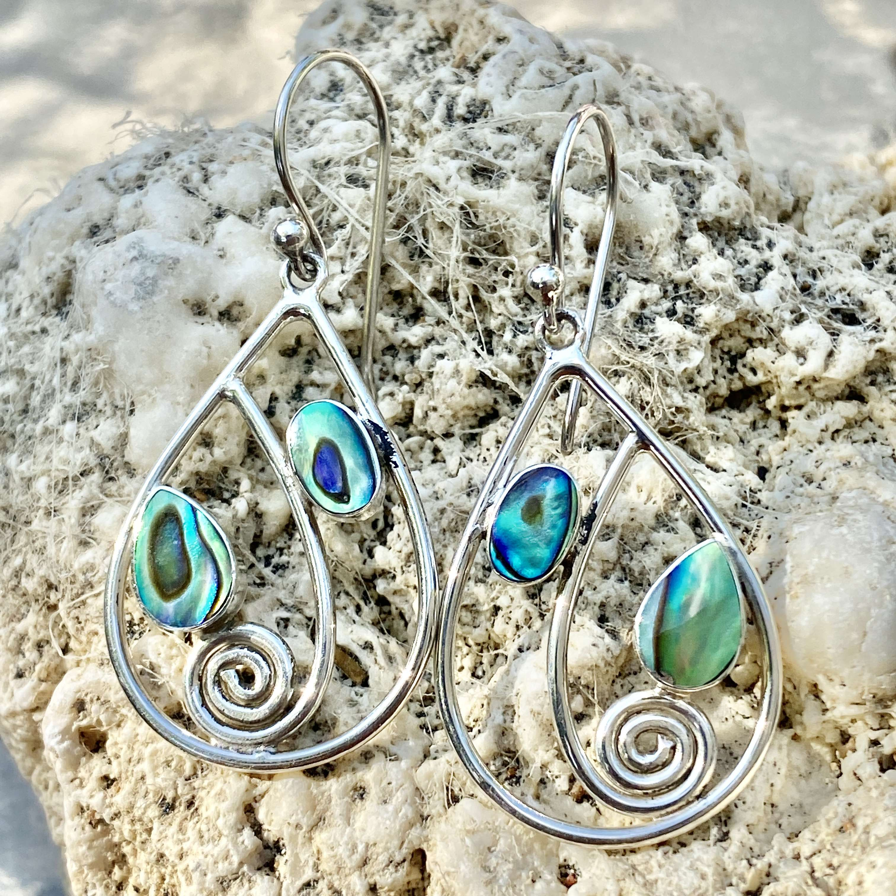 (Beautiful Handmade 925 Bali Sterling Silver Earrings with ABALONE)