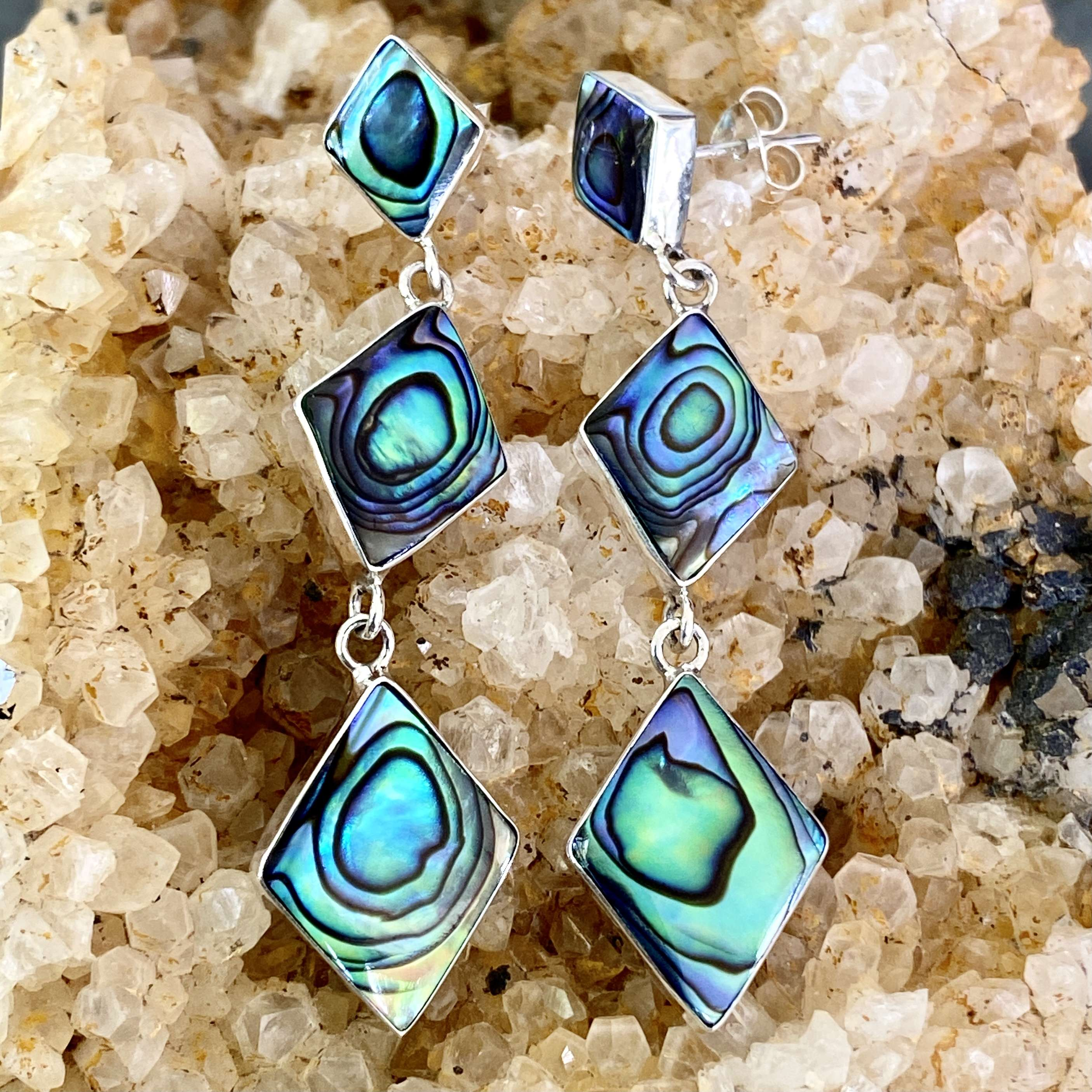 (HANDMADE BALI 925 STERLING SILVER EARRINGS WITH ABALONE)