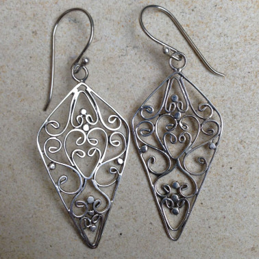 ER 08739-1 prs of Handmade Filigree 925 Silver Earrings