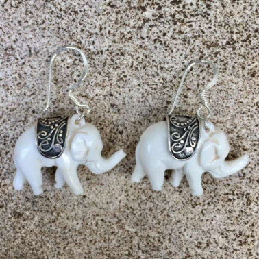 ER 11285 BN-(HANDMADE 925 BALI SILVER ELEPHANT EARRINGS WITH BONE)