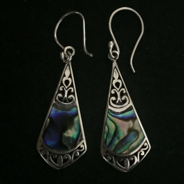 ER 12312 AB-(925 BALI SILVER EARRINGS WITH ABALONE)