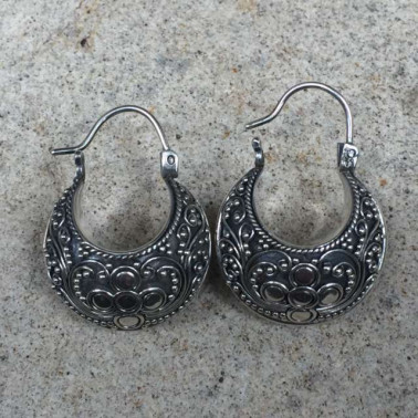 ER 07587 -HANDMADE 925 BALI SILVER FILIGREE EARRINGS WITH SILVER
