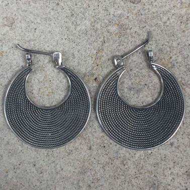 ER 11026 -(925 BALI SILVER TWISTED WIRED EARRINGS 30 MM)