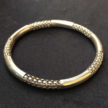 BR 09662-(66 mm Handmade 925 Bali Silver Bangle Bracelet)