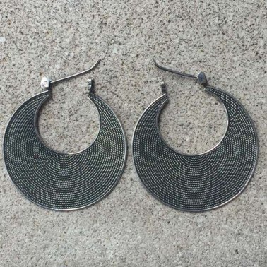 ER 11026-(925 BALI SILVER TWISTED WIRED EARRINGS 25 MM)
