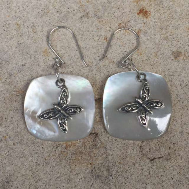 ER 11531 MP-HANDMADE 925 BALI SILVER EARRINGS WITH MOP