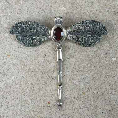 PD 09618 GR-(925 Bali Silver Dragonfly Pendant and Brooch with Garnet)