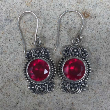 ER 12478 RB-(HANDMADE 925 BALI SILVER EARRINGS WITH SYNTHETIC RUBY)