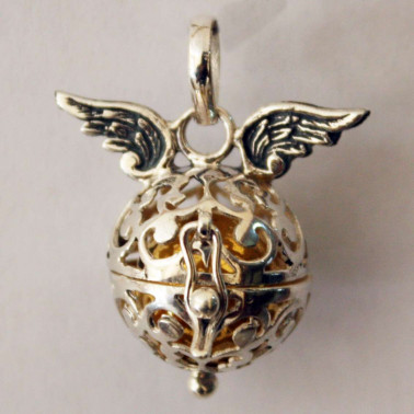 BD 09357-(HANDMADE 925 Bali Silver Harmony Ball WINGS PENDANT 16 MM)