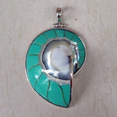 PD 06291 L-TC (Tosca)-(HANDMADE 925 BALI SILVER PENDANT WITH TOSCA COLORED NAUTILUS SHELL)