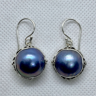 ER 13895 BPL-BALI SILVER EARRINGS WITH BLUE MABE PEARL