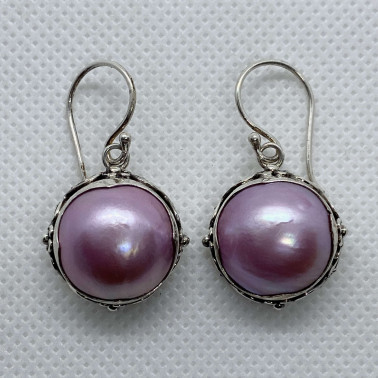 ER 13895 PPL-(HANDMADE 925 BALI SILVER EARRINGS WITH PINK MABE PEARL