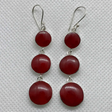 ER 14580 CR-BALI 925 STERLING SILVER EARRINGS WITH CORAL
