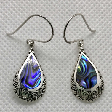 ER 14213 AB-BALI 925 STERLING SILVER EARRINGS WITH ABALONE