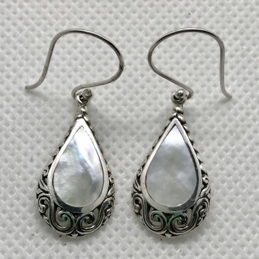 ER 14213 MP-BALI 925 STERLING SILVER EARRINGS WITH MOP