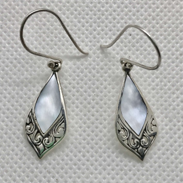 ER 14210 MP-BALI 925 STERLING SILVER EARRINGS WITH MOP