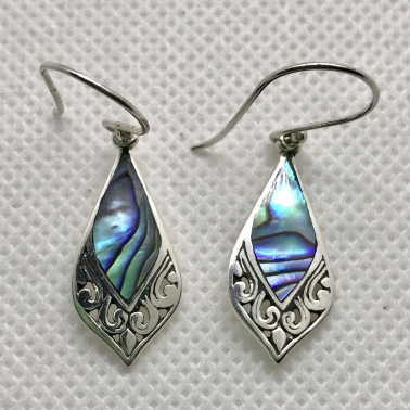 ER 14210 AB-BALI 925 STERLING SILVER EARRINGS WITH ABALONE