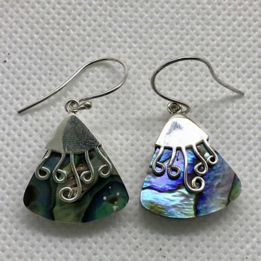ER 09176 AB-BALI 925 STERLING SILVER EARRINGS WITH ABALONE
