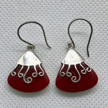 ER 09176 CR-BALI 925 STERLING SILVER EARRINGS WITH CORAL