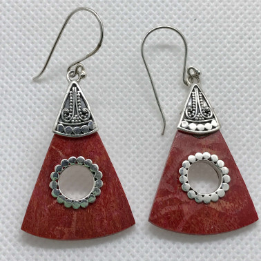 ER 06612 CR-BALI 925 STERLING SILVER EARRINGS WITH CORAL