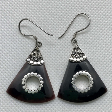 ER 06612 BS-BALI 925 STERLING SILVER EARRINGS WITH BLACK SHELL