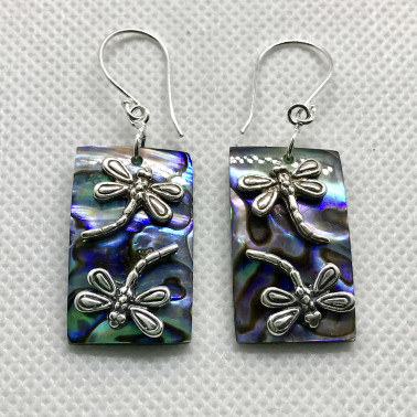 ER 11533 AB-BALI 925 STERLING SILVER EARRINGS WITH ABALONE