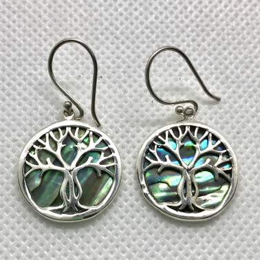 ER 11282 B-AB-(BALI 925 STERLING SILVER TREE OF LIFE EARRINGS WITH ABALONE)