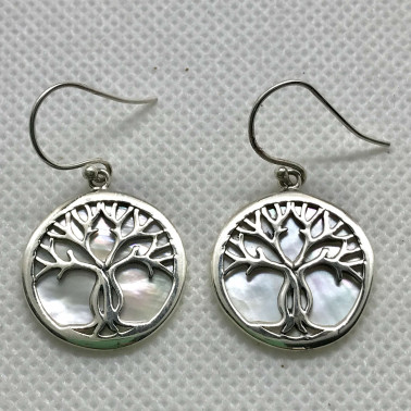 ER 11282 B-MP-(BALI 925 STERLING SILVER TREE OF LIFE EARRINGS WITH MOP)