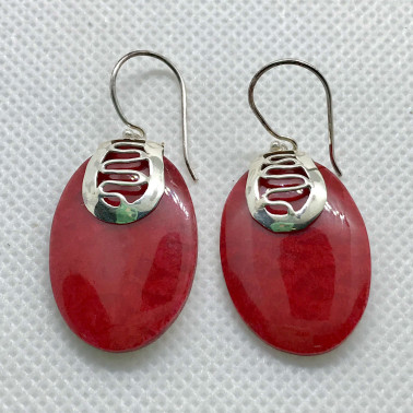 ER 09858 CR-BALI 925 STERLING SILVER EARRINGS WITH CORAL