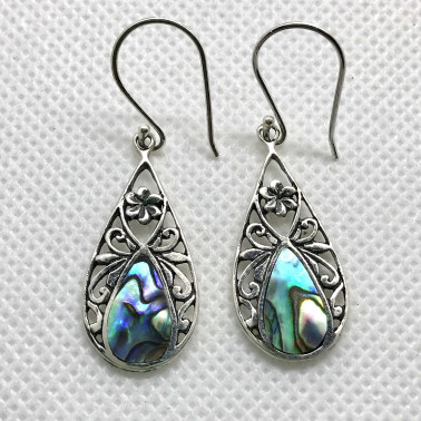 ER  14216 AB-BALI 925 STERLING SILVER EARRINGS WITH ABALONE