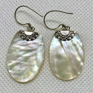 ER 13633 MP-BALI 925 STERLING SILVER EARRINGS WITH MOP