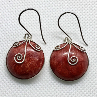 ER 12072 CR-BALI 925 STERLING SILVER EARRINGS WITH CORAL