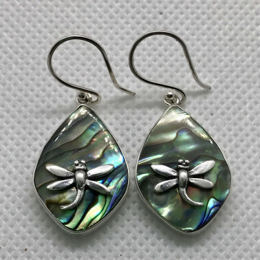 ER 07818 B-AB-(BALI 925 STERLING SILVER DRAGONFLY EARRINGS WITH ABALONE)