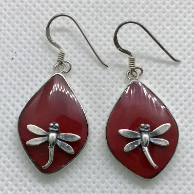ER 07818 B-CR-(BALI 925 STERLING SILVER DRAGONFLY EARRINGS WITH CORAL)