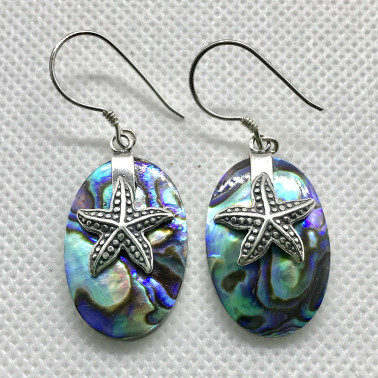 ER 13622 AB-BALI 925 STERLING SILVER EARRINGS WITH ABALONE