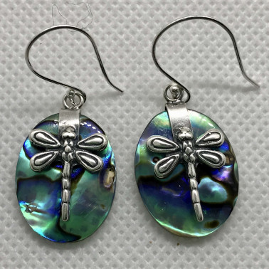 ER 13624 A-AB-(BALI 925 STERLING SILVER DRAGONFLY EARRINGS WITH ABALONE)