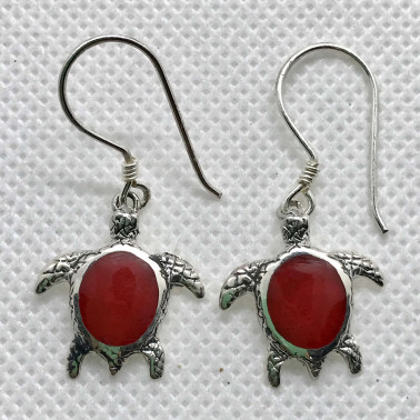 ER 14200 CR-BALI 925 STERLING SILVER EARRINGS WITH CORAL