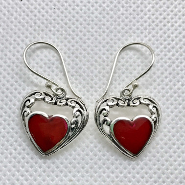 ER 14438 CR-BALI 925 STERLING SILVER EARRINGS WITH CORAL