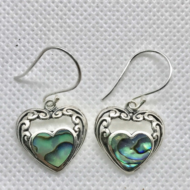 ER 14438 AB-BALI 925 STERLING SILVER EARRINGS WITH ABALONE