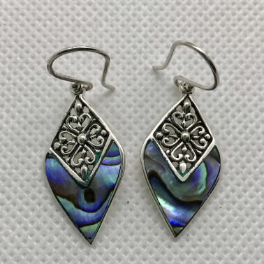 ER 14209 AB-BALI 925 STERLING SILVER EARRINGS WITH ABALONE