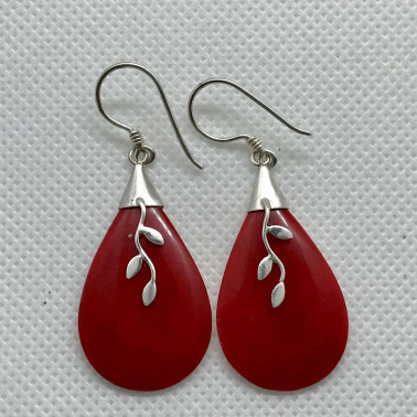 ER 11799 CR-BALI 925 STERLING SILVER EARRINGS WITH CORAL