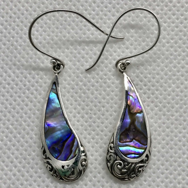 ER 14212 AB-(UNIQUE 925 BALI SILVER EARRINGS WITH ABALONE)